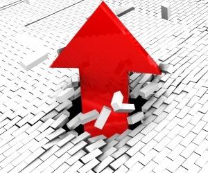 arrow up break through roof top bricks leader(5)